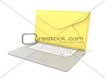 Closed envelope on laptop. Side view. 3D