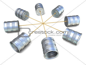 Tin can phones connected to each other. 3D
