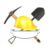 Mining tools, shovel, pickaxe and safety helmet, with blank whit