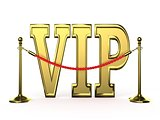 Velvet rope barrier, with golden VIP sign. 3D