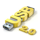 USB flash memory 2.0, made with the word USB. 3D