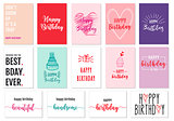 Birthday cards, vector set