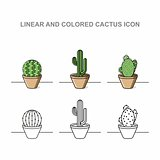 Linear and coloren cactus icon