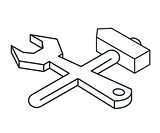 Wrench and hammer linear isometric icon