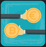 Bitcoin Growth on Cryptocurrency Markets Concept Cartoon Illustration