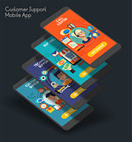 Flat design responsive UI mobile app with 3d mockups