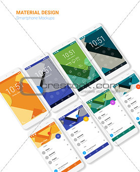 Material UI screens with 3d smartphon mockups kit