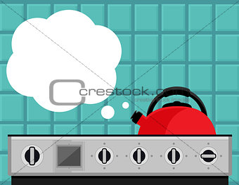 kitchen kettle on gas stove flat illustration