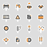 Car Service Vector Icons Sticker Set