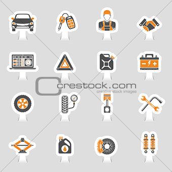 Car Service Vector Icons Sticker Set