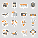 Vacation and Tourism Icons Sticker Set