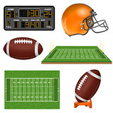 American Football Realistic Icons