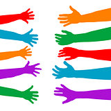 Adults care about children concept with colorful hands silhouett