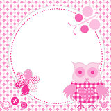 Cartoon frame owl in patchwork style