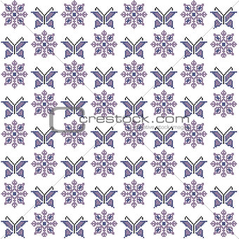 Cross stitch seamless pattern, traditional embroidery with butte