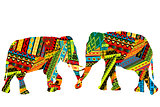 Two elephants in the ethnic motifs pattern