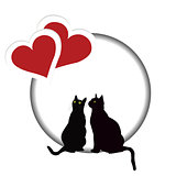 Valentines day card with two cats and two hearts