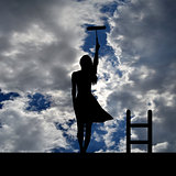 Woman silhouette with ladder on the roof painting the sky