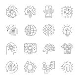 Modern flat editable vector line icons of future technology - neural network, AI, quantum technologies for graphic and web design.