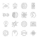 Future technologies icons. AI, quantum computing, robot, IoT, smart CPU and other. Editable Stroke.