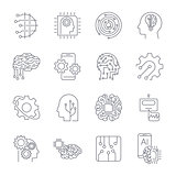 Set of thin icons related to artificial intelligence and data science mono line. Editable Stroke.