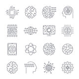 Icons in contour, thin and linear design. Artificial Intelligence, Modern technology. Concept illustration for website, apps, programs. AI, IoT, Robot, Cyber brain, chipping and other.