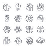 Internet Of Things IOT , Artificial Intelligence AI , Connectivity, Innovative Smart Cyber Security Digital Information Technologies IT Vector Icon Set. Editable Stroke