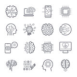 Artificial intelligence AI line icons. Robot intellect and cyborg chip mind signs. Innovation technology manufacturing and programming. Vector illustration. Editable Stroke.