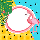 Cute Summer Abstract Frame Background with Pink Flamingo Vector Illustration