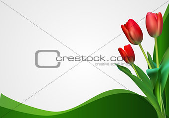 Abstract Backgroundn with Tulips Flowers. Vector Illustration