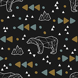 Seamless tribal pattern with low poly polar bears and triangles. Kids and baby fashion fabric design. Vector illustration.