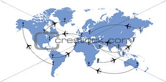 World map and planes
