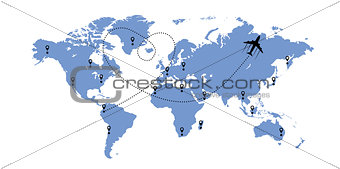 World map and plane