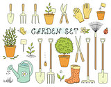 colorful set of garden equipment