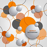 Abstract background with orange circles and bubbles