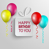 Birthday poster with white gift and colored ballons