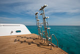 Ladders on the back of a luxury motor yacht