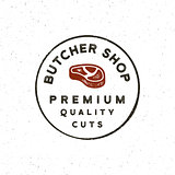 vintage butchery logo. retro styled meat shop emblem. vector illustration