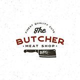 vintage butchery logo. retro styled meat shop emblem. vector illustration