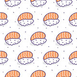 Sushi salmon seamless vector pattern.