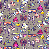 Doodles vector icons seamless pattern.