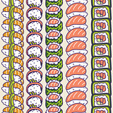 Sushi rolls set vector seamless pattern.