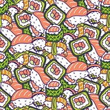 Japan food traditional vector seamless pattern.