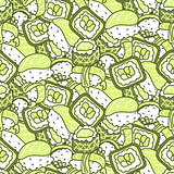 Sushi meal green set vector seamless pattern.