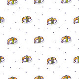 Sushi shrimp seamless vector pattern.