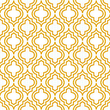 Yellow line qatrefoil seamless vector pattern.