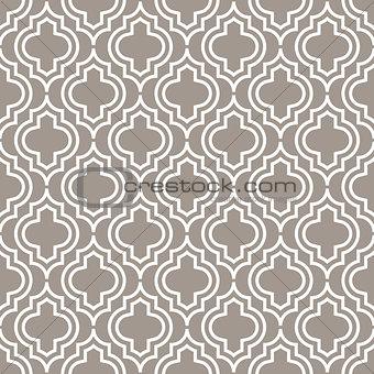 Grey line qatrefoil seamless vector pattern.