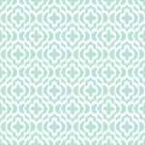 Blue ikat qatrefoil seamless vector pattern.