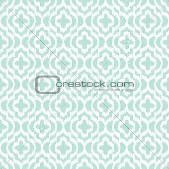 Blue ikat qatrefoil seamless vector pattern.