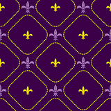 Mardi gras fleur de lis flower royal vector seamless pattern.